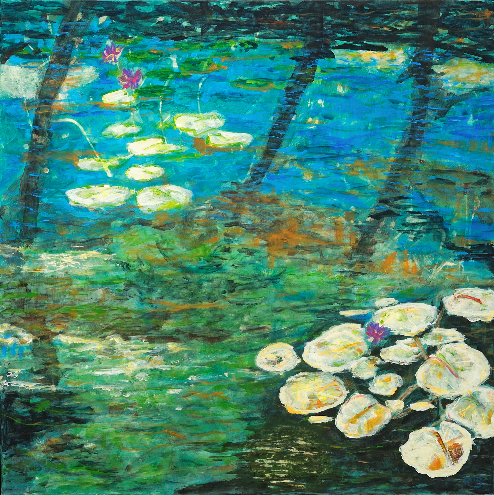 """Water Lilies II"" - 36"" x 36"" - Acrylic on Canvas"