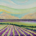 """Lavender Fields with Clouds"" - 24"" x 24"" Acrylic on Canvas"