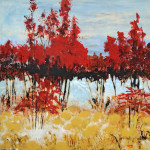 """""""Red Trees in Snow"""" - 24"""" x 24"""" - Acrylic on Canvas"""