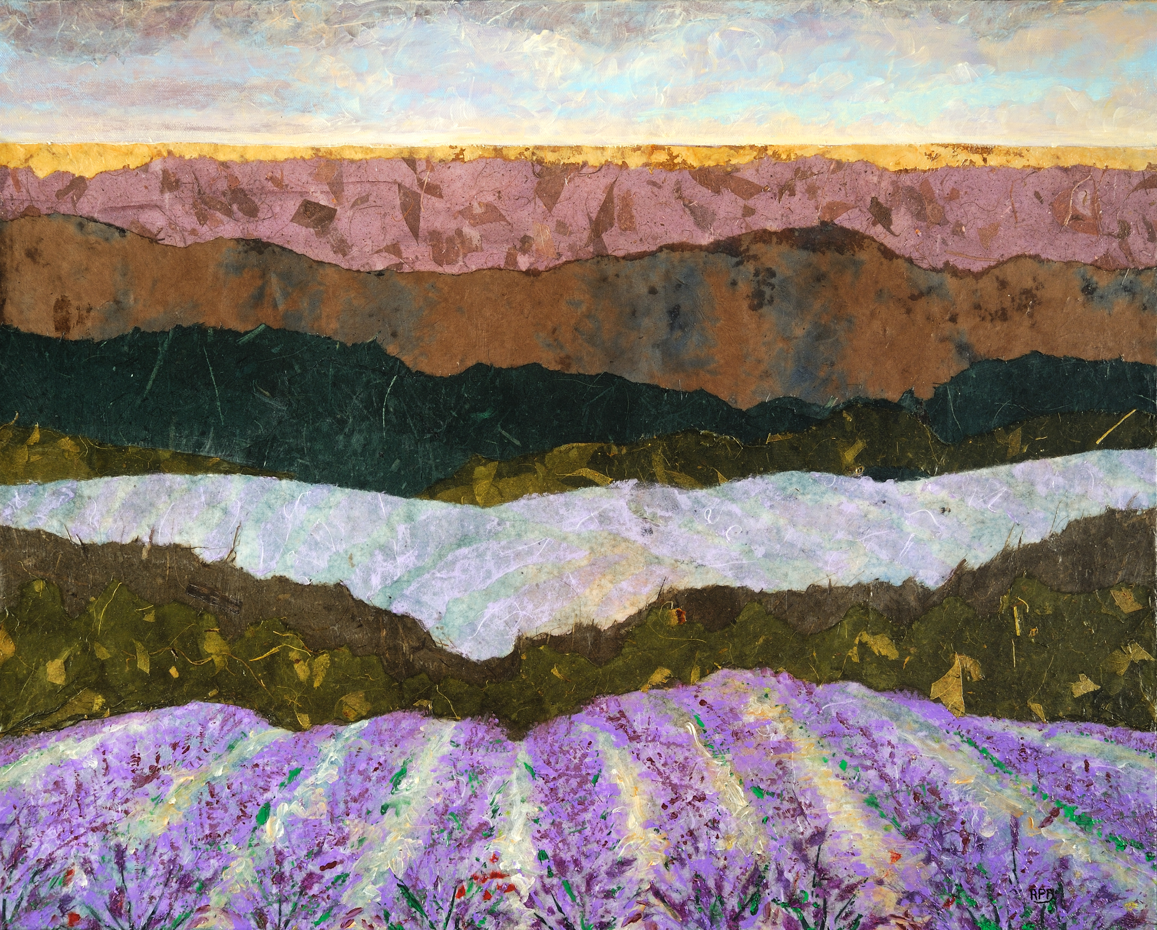 """""""Layers of Lavender"""" - 24"""" x 30"""" - Mixed Media"""