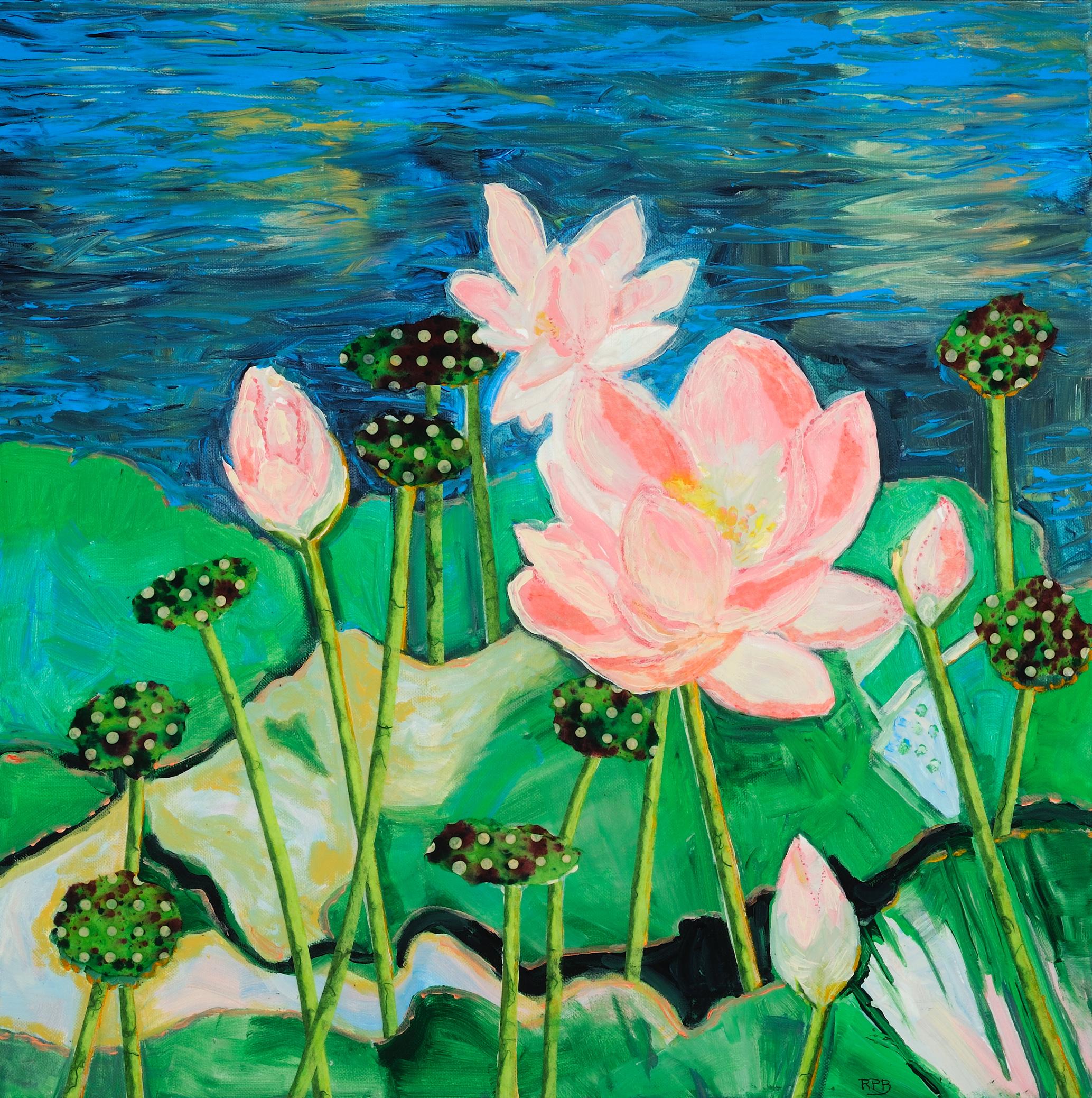 """Lotus Pond"" - 24"" x 24"" - Mixed Media"