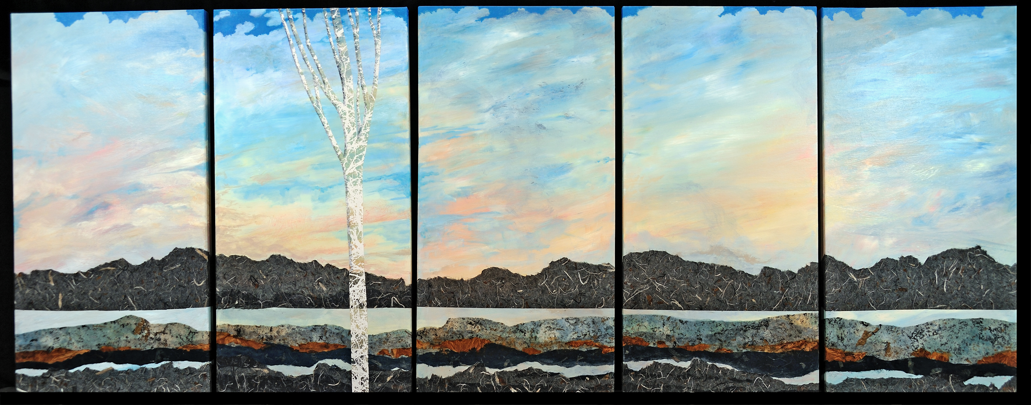 """Memories of Lake Mead"" - 15"" x 30"" [x 5 pieces]Mixed Media on Canvas"