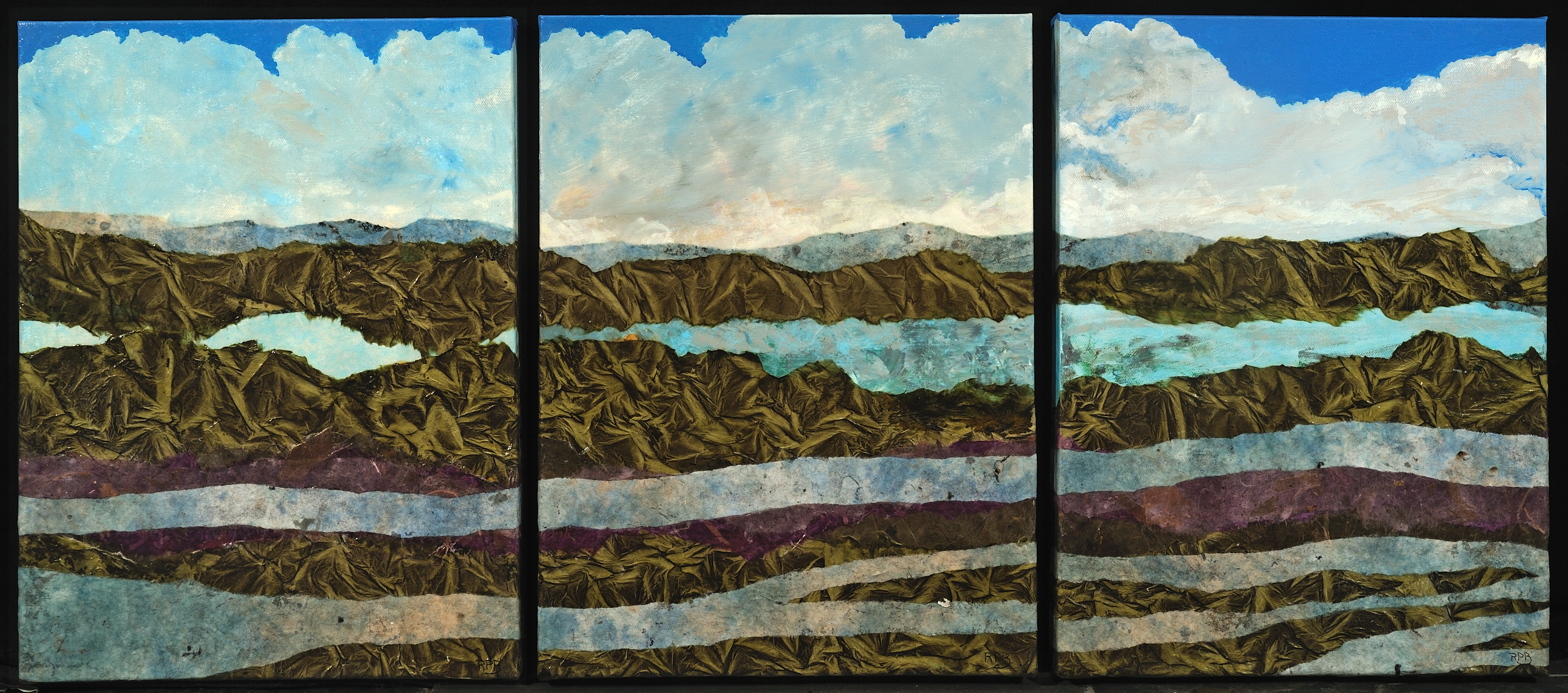 """Running to the Sea"" - 12"" x 16"" [x 3 pieces]Mixed Media on Canvas"
