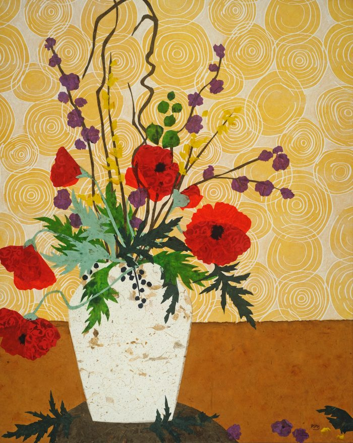 """Poppies in White Vase"" - 30"" x 24"" - Collage"